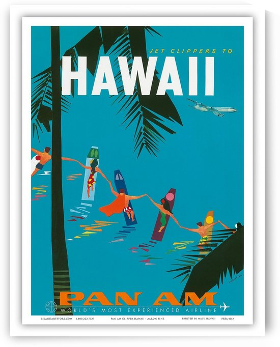 Jet clippers to Hawaii travel poster by VINTAGE POSTER