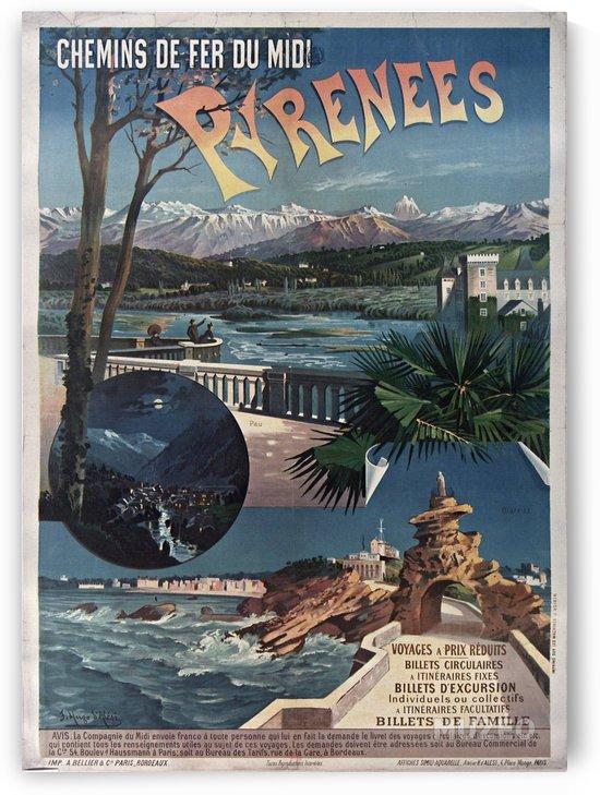 Chemins de fer du midi Pyrenees vintage poster by VINTAGE POSTER