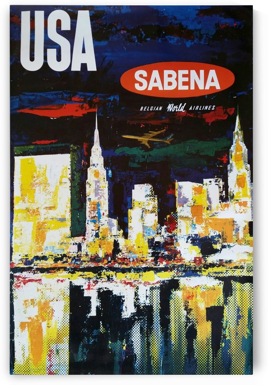 Sabena original vintage poster for USA Manhattan by VINTAGE POSTER