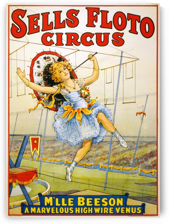 Sells Floto Circus Mlle Beeson A Marvelous High Wire Venus 1921 by VINTAGE POSTER
