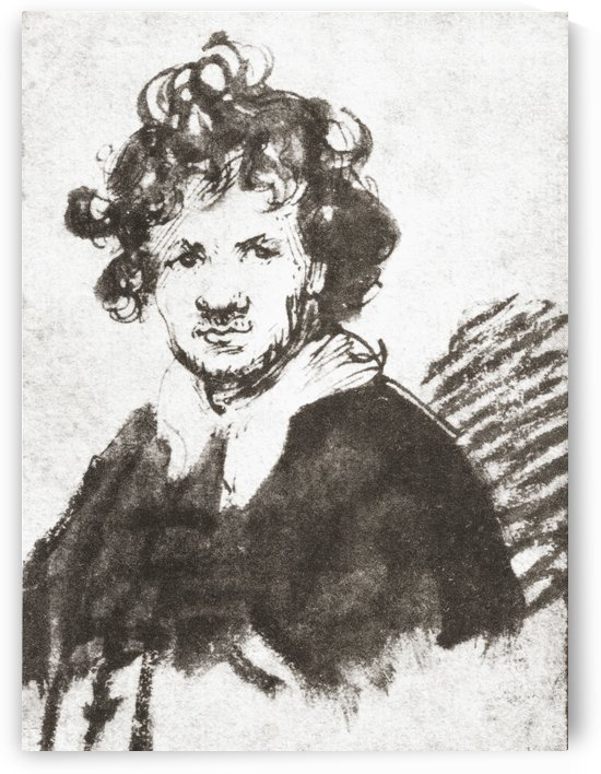 Self portrait of Rembrandt Harmenszoon van Rijn, 1606-1669. Dutch painter and etcher. From Rembrandt Handzeichnungen published 1936. by PacificStock