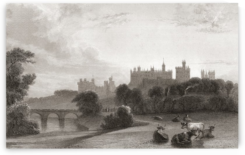 Alnwick Castle, Alnwick, Northumberland, England, in the early 19th century. Used as location in Harry Potter films. From Churton's Portrait and Lanscape Gallery, published 1836. by PacificStock