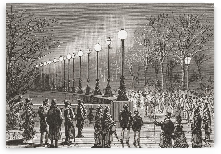 Crowds admiring the electric lights on Victoria Docks, London, England in the 19th century. From El Museo Popular, published 1887. by PacificStock