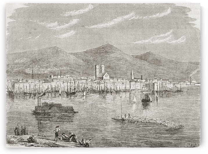 Montreal in the 1860s, after an engraving by Auguste Trichon. by PacificStock