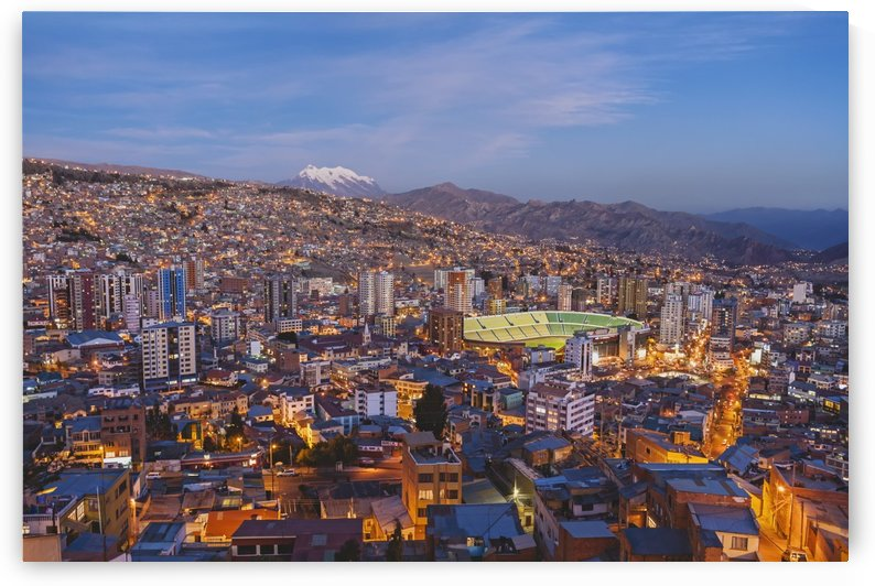 View over La Paz at sunset with Nevado Illimani in the background; Bolivia by PacificStock