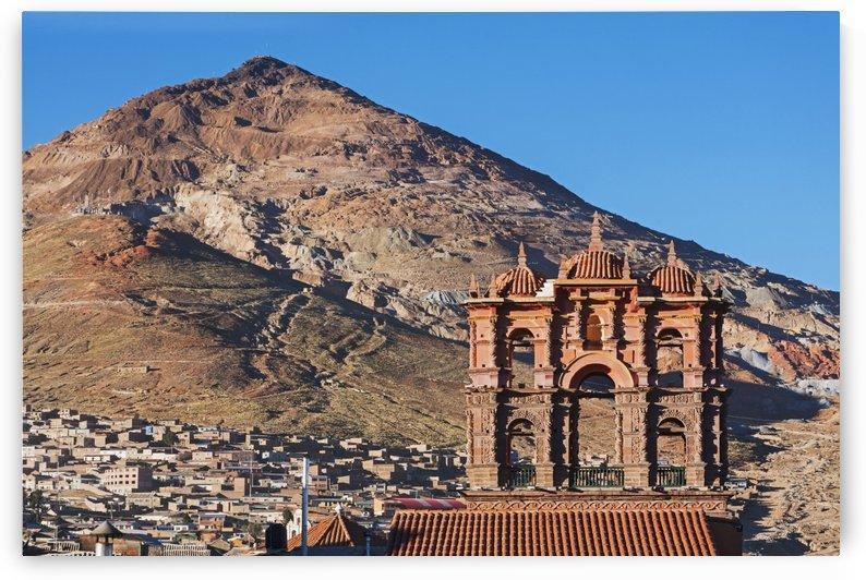 Iglesia La Compania in front of Cerro Rico mountains; Potosi, Bolivia by PacificStock