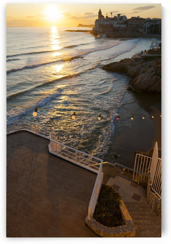 Sunset in the beautiful Sitges downtown, a village near to Barcelona; Sitges, Spain by PacificStock