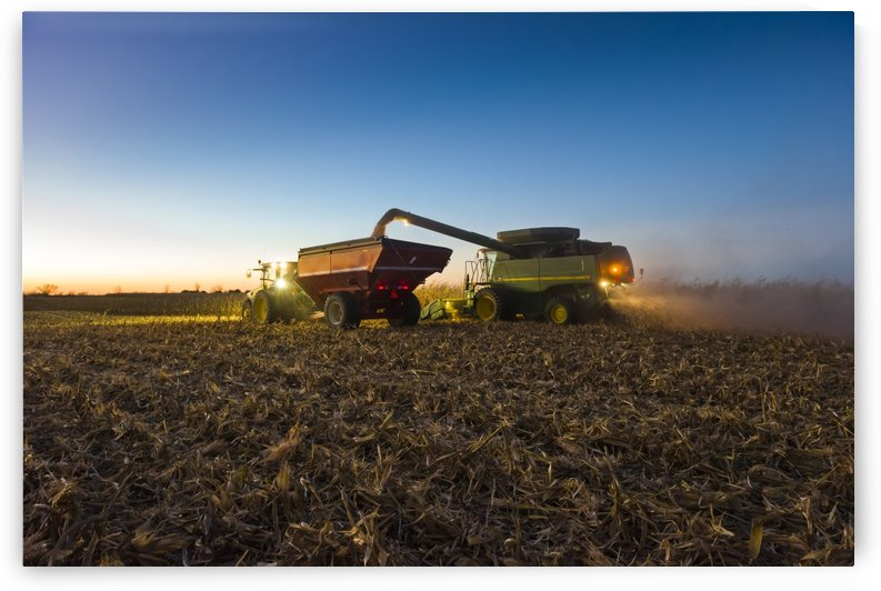 A farmer augers yellow grain corn from his combine into a grain wagon at night in Southern Iowa; Iowa, United States of America by PacificStock