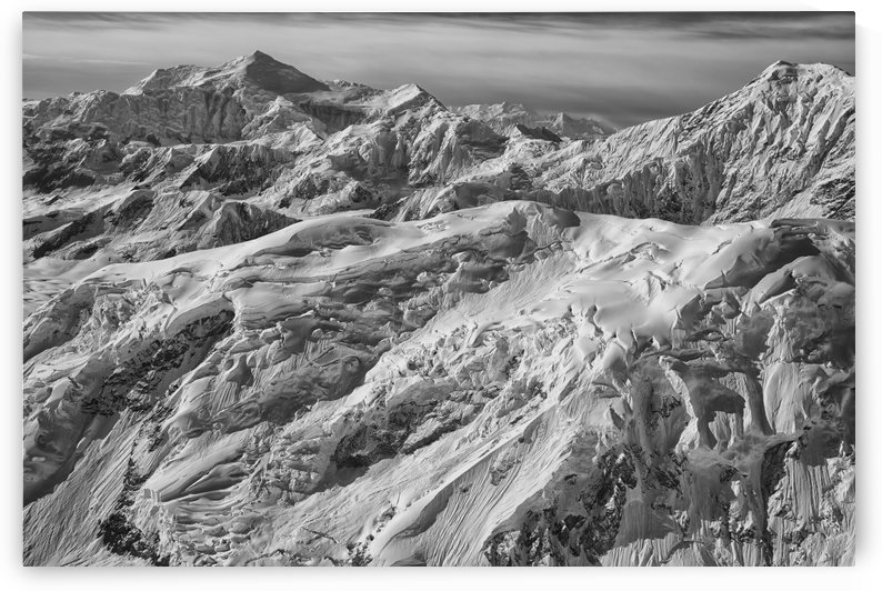 Black and white aerial view of the mountains and icefields in Kluane National Park; Yukon, Canada by PacificStock