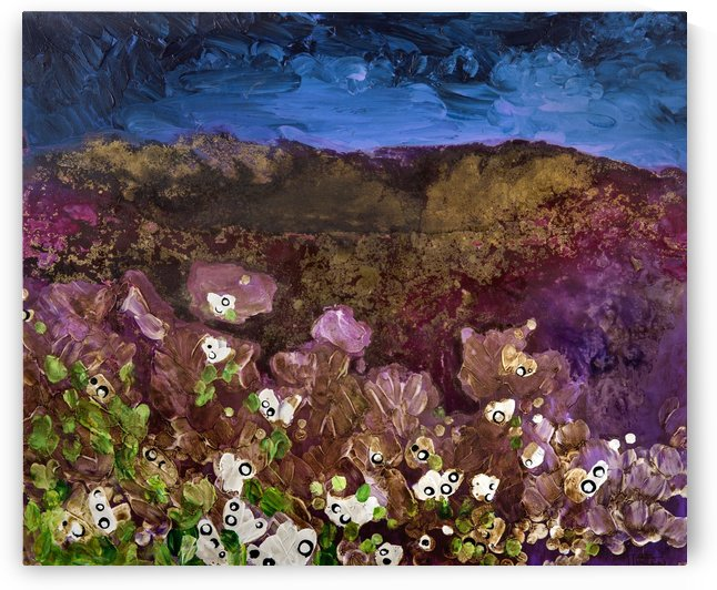 Painting of landscape with storm clouds over a mountain and flowers by PacificStock