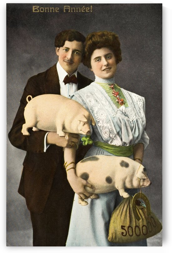 Historic illustration of couple holding pigs and bag of money with text