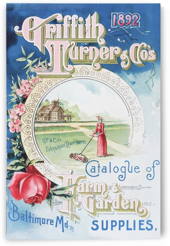 Historic Griffith Turner & Co catalog of farm and garden supplies with illustration of woman farmer from 19th century. by PacificStock