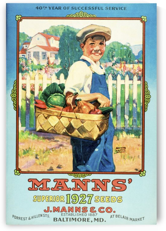 Mann's seed catalog with illustration of boy holding vegetables from the 20th century. by PacificStock
