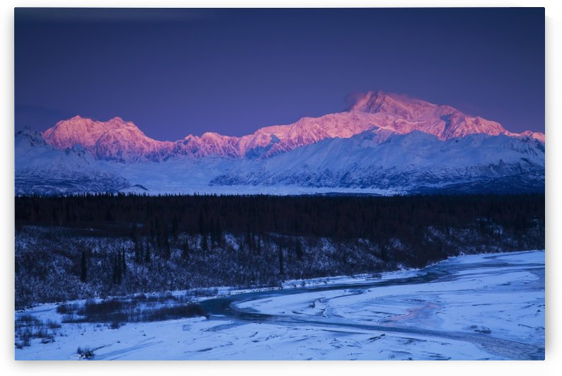Alpenglow on Mt. McKinley and Mt. Hunter as seen from the Denali South Overlook along the Parks Highway, Denali State Park, Alaska, Winter by PacificStock