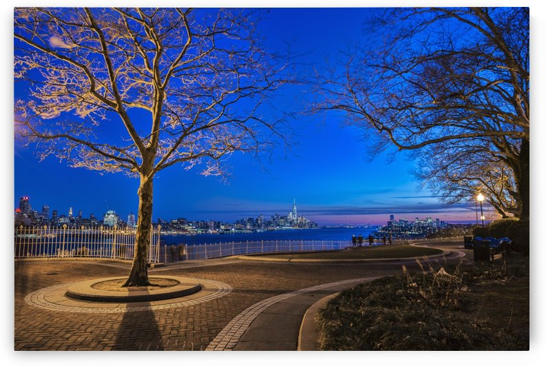 Hamilton Park at twilight with New York City skyline in background; Weehawken, New Jersey, United States of America by PacificStock