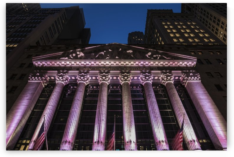 New York Stock Exchange at twilight; New York City, New York, United States of America by PacificStock