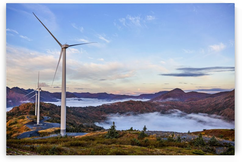 Wind turbines with low fog patches on Pillar Mountain, Kodiak, Alaska, fall by PacificStock