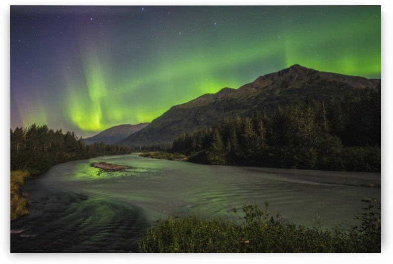 Aurora borealis over Portage Creek in Chugach National Forest, Alaska. by PacificStock