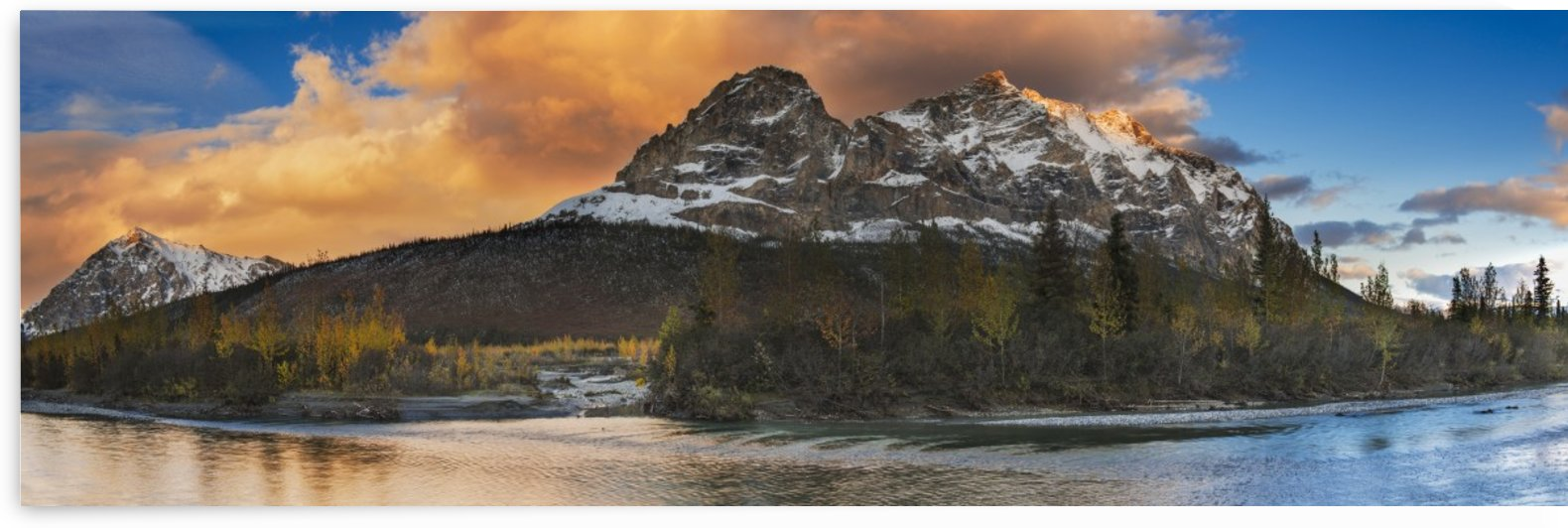 Panoramic scenic of Mt. Sukakpak at sunset along the Middle Fork of the Koyukuk River in the Brooks Range, Arctic Alaska, Autumn by PacificStock