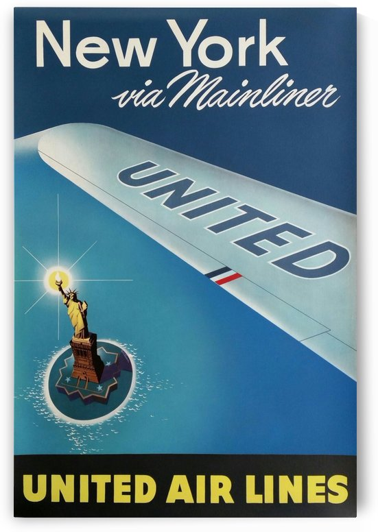 United Air Lines New York via Mainliner poster by VINTAGE POSTER