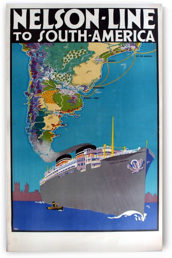 Original 1930 Travel Poster Advertising Nelson Line Cruises To South America by VINTAGE POSTER