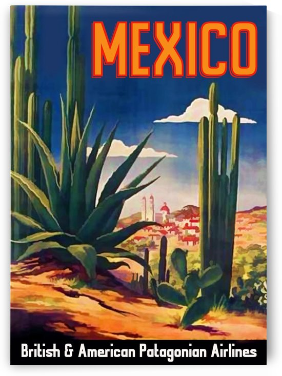 British and American Patagonian Airlines poster for Mexico by VINTAGE POSTER