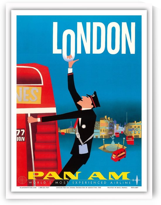 London Pan American travel poster by VINTAGE POSTER
