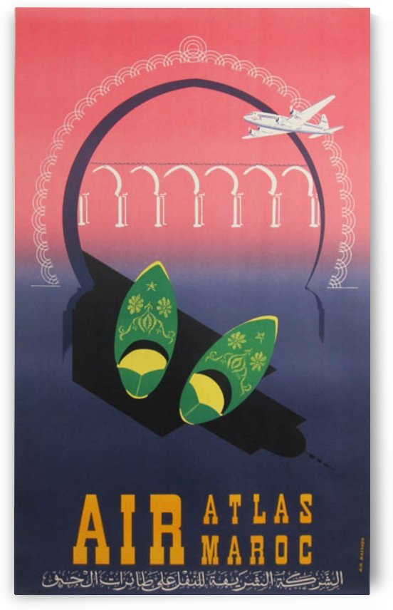 Air Atlas Maroc original advertising lithography vintage poster by VINTAGE POSTER