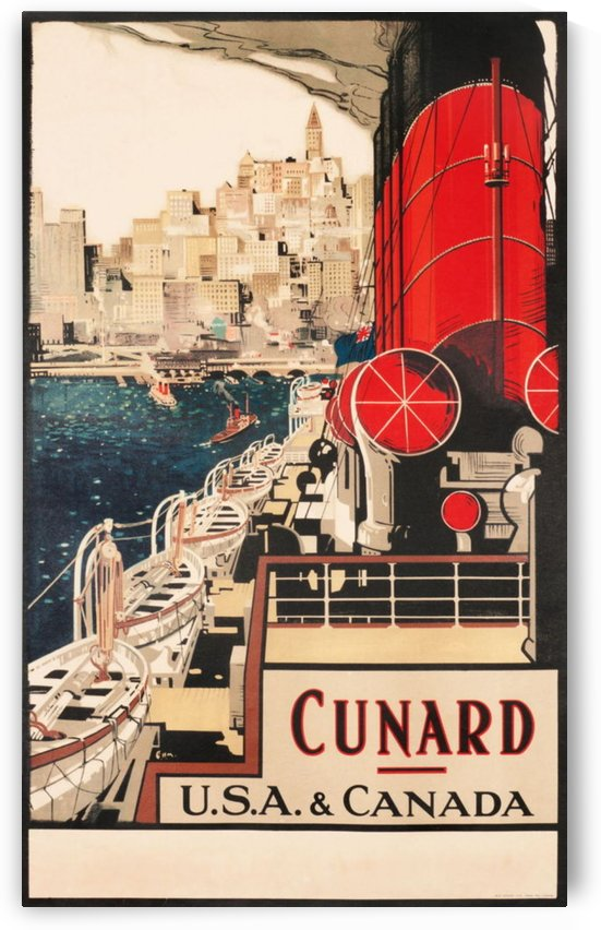 Cunard USA and Canada Titans of The Sea Vintage Advertising Poster by VINTAGE POSTER