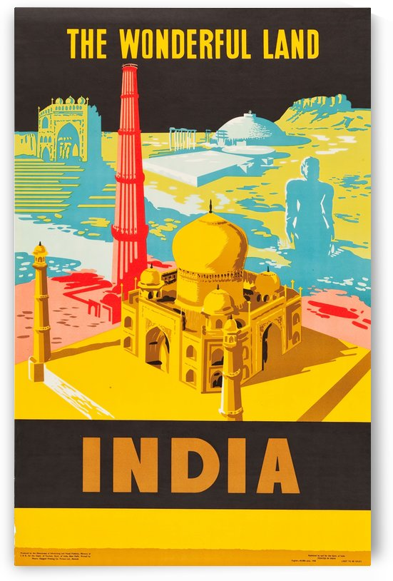 The Wonderful Land India Travel Poster by VINTAGE POSTER