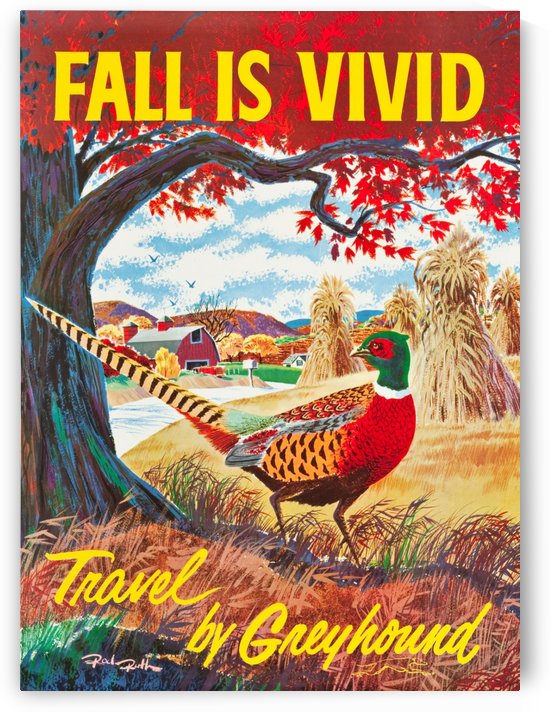 Greyhound Bus Travel Poster Fall is Vivid by VINTAGE POSTER