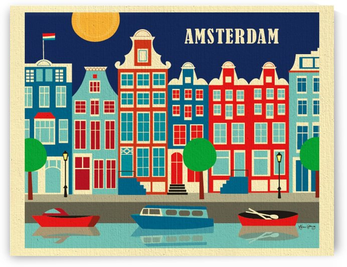 Amsterdam Art Print travel poster by VINTAGE POSTER