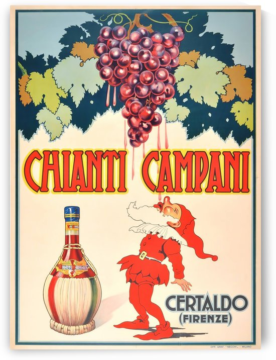 Original Vintage 1940 Advertising Poster For Chianti Campani by VINTAGE POSTER