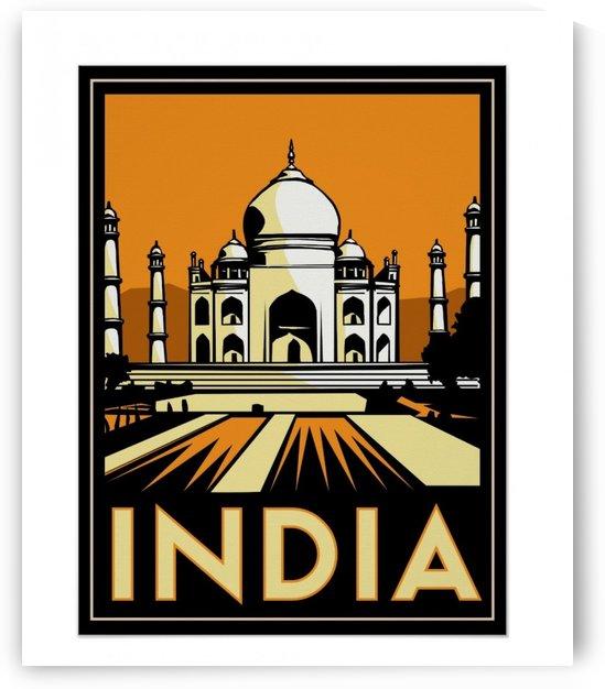 Taj Mahal india art deco retro travel vintage poster by VINTAGE POSTER