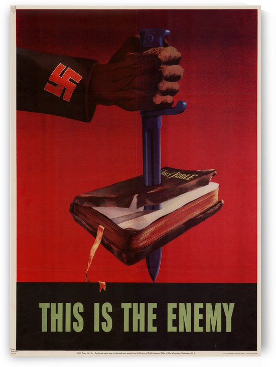 World War II American Patriotic Anti-Nazi Poster by VINTAGE POSTER