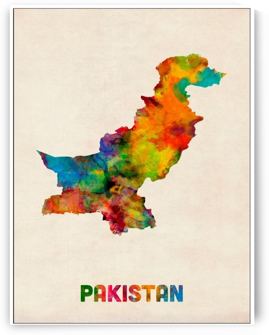 Pakistan Watercolor Map Poster by VINTAGE POSTER