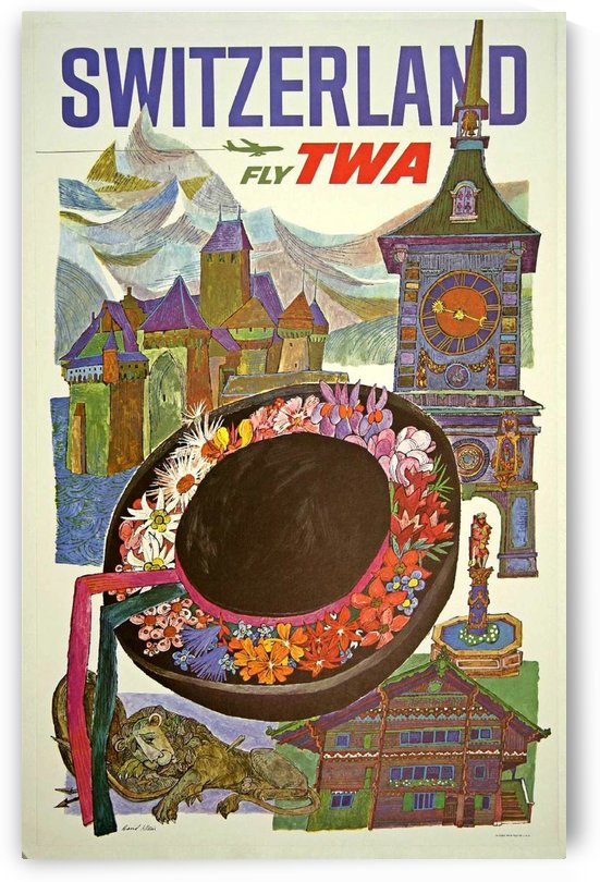 Switzerland Fly TWA Vintage Travel Poster by VINTAGE POSTER