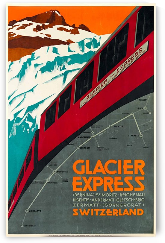 Glacier Express Switzerland Travel Poster by VINTAGE POSTER