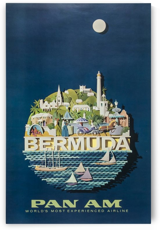Bermuda Pan American Airways vintage travel poster by VINTAGE POSTER