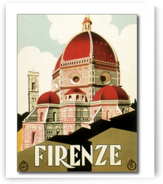 Vintage travel Florence Italian Church Duomo poster by VINTAGE POSTER