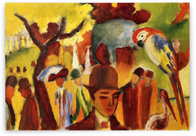Small Zoological Garden in brown and yellow by August Macke by August Macke