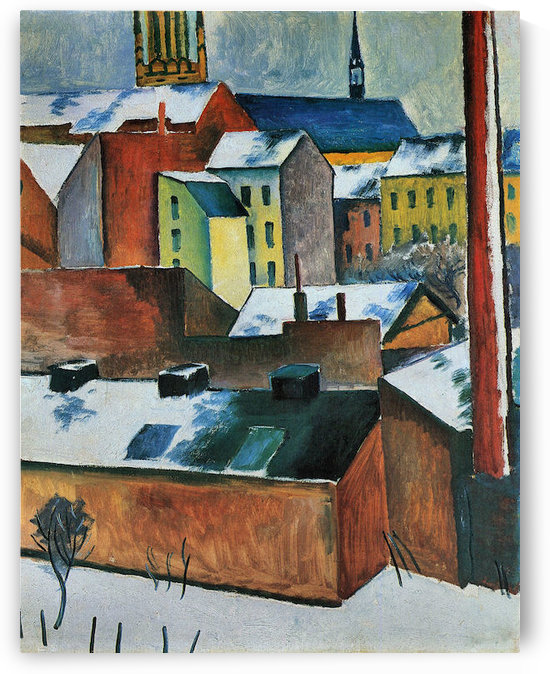 St. Marys Church in the snow by August Macke by August Macke