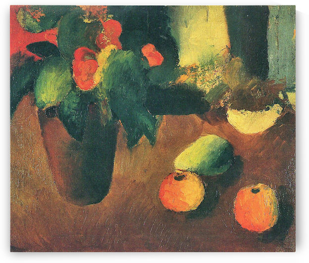 Still Life with begonia, apples and pear by August Macke by August Macke