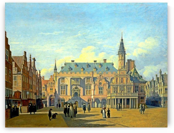 The Market Place and Town Hall Haarlem by Gerrit Adriaenszoon Berckheyde