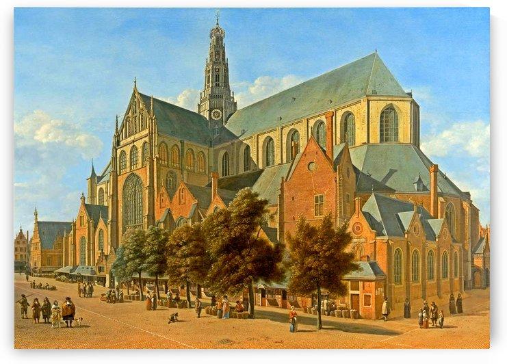 A view of Saint Bavos Haarlem by Gerrit Adriaenszoon Berckheyde