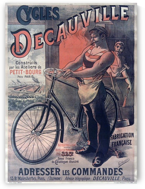 Original Cycles DeCauville vintage poster by VINTAGE POSTER