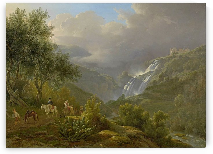 The Cascades at Tivoli, with a storm approaching by Abraham Teerlink