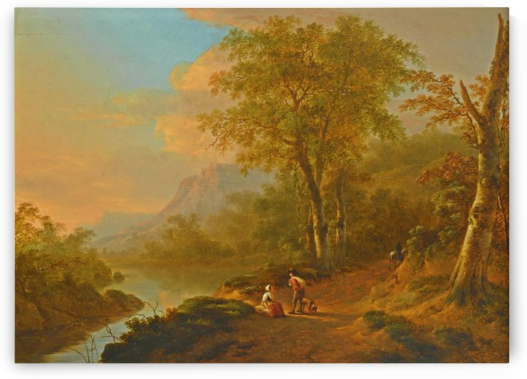 Travellers in a river landscape by Abraham Teerlink