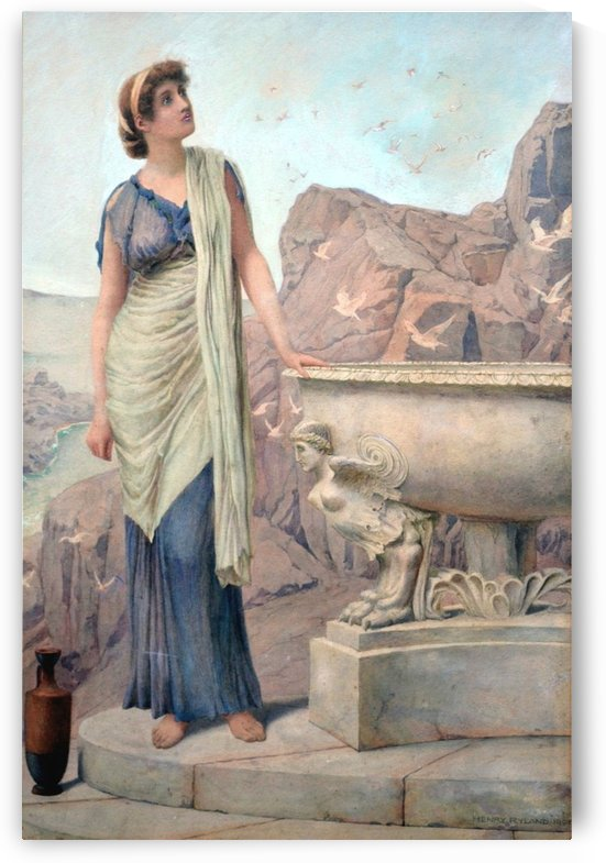 Lady in blue dress by Henry Ryland