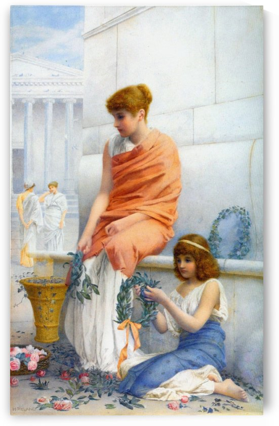 Girls outside court by Henry Ryland